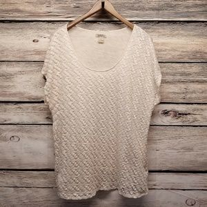 Lucky Brand Lace Front Blouse Plus Size